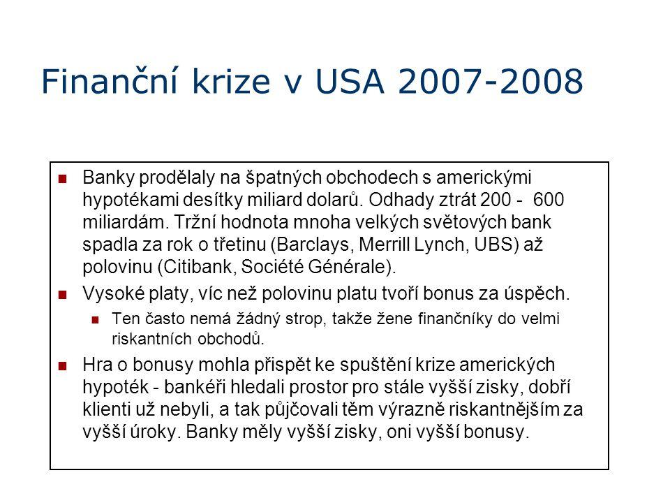 Finanční krize v USA 2007-2008 Banky prodělaly na špatných obchodech s americkými hypotékami desítky miliard dolarů. Odhady ztrát 200 - 600 miliardám.