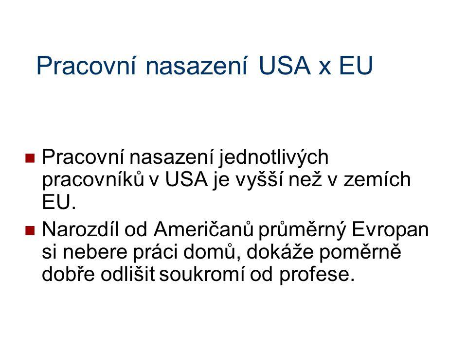 Pracovní nasazení USA x EU Pracovní nasazení jednotlivých pracovníků v USA je vyšší než v zemích EU. Narozdíl od Američanů průměrný Evropan si nebere