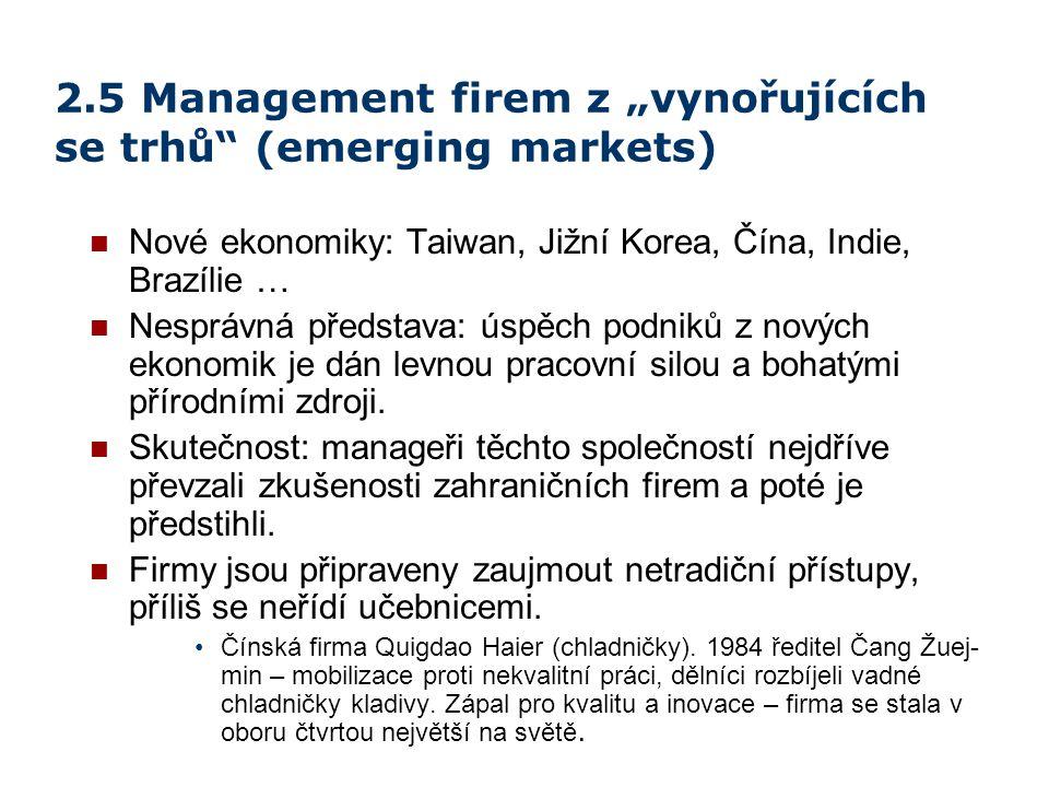 """2.5 Management firem z """"vynořujících se trhů"""" (emerging markets) Nové ekonomiky: Taiwan, Jižní Korea, Čína, Indie, Brazílie … Nesprávná představa: úsp"""