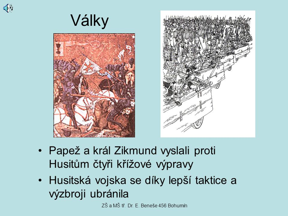 Války Papež a král Zikmund vyslali proti Husitům čtyři křížové výpravy Husitská vojska se díky lepší taktice a výzbroji ubránila ZŠ a MŠ tř. Dr. E. Be