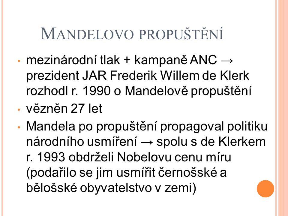 M ANDELOVO PROPUŠTĚNÍ mezinárodní tlak + kampaně ANC → prezident JAR Frederik Willem de Klerk rozhodl r. 1990 o Mandelově propuštění vězněn 27 let Man
