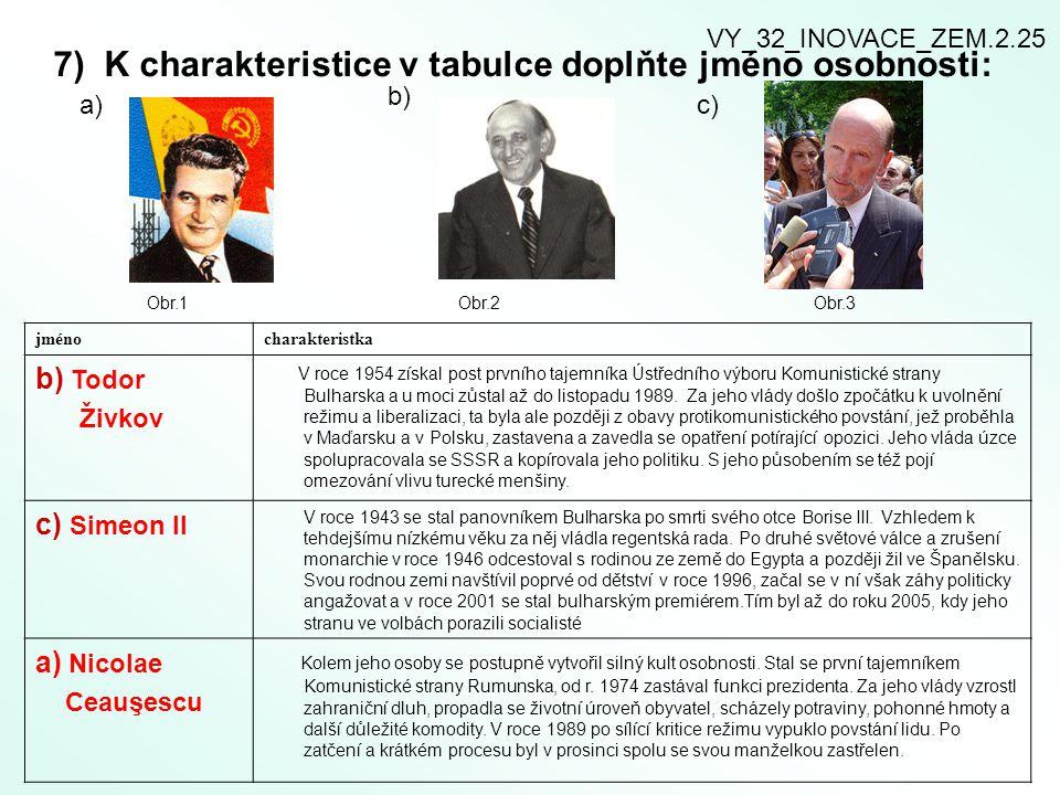 7) K charakteristice v tabulce doplňte jméno osobnosti: a) b) c) Obr.1 Obr.2 Obr.3 jménocharakteristka b) Todor Živkov V roce 1954 získal post prvního