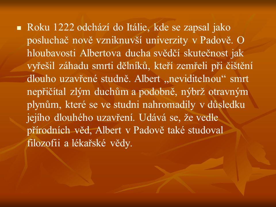 Roku 1222 odchází do Itálie, kde se zapsal jako posluchač nově vzniknuvší univerzity v Padově. O hloubavosti Albertova ducha svědčí skutečnost jak vyř