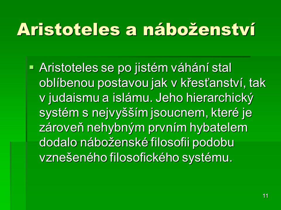 11 Aristoteles a náboženství  Aristoteles se po jistém váhání stal oblíbenou postavou jak v křesťanství, tak v judaismu a islámu.