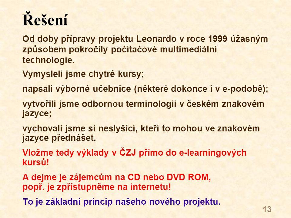 13 Řešení Od doby přípravy projektu Leonardo v roce 1999 úžasným způsobem pokročily počítačové multimediální technologie.