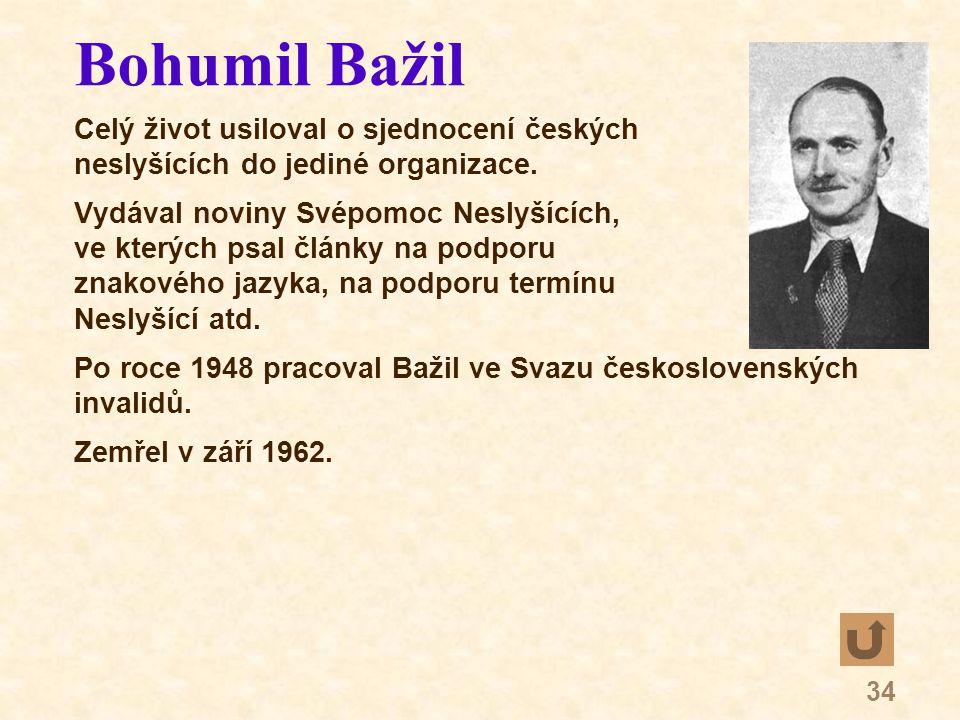 34 Bohumil Bažil Celý život usiloval o sjednocení českých neslyšících do jediné organizace.