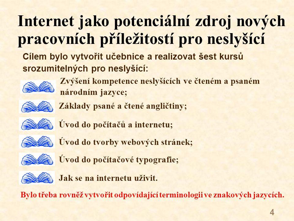 15 Kursy budou na základě získaných zkušeností mírně modifikovány Základní návody jak využít internet k podnikání; Zvýšení kompetence neslyšících ve čtené a psané češtině; Úvod do počítačů, internetu a informační gramotnosti; Úvod do tvorby webových stránek; Úvod do počítačové typografie.