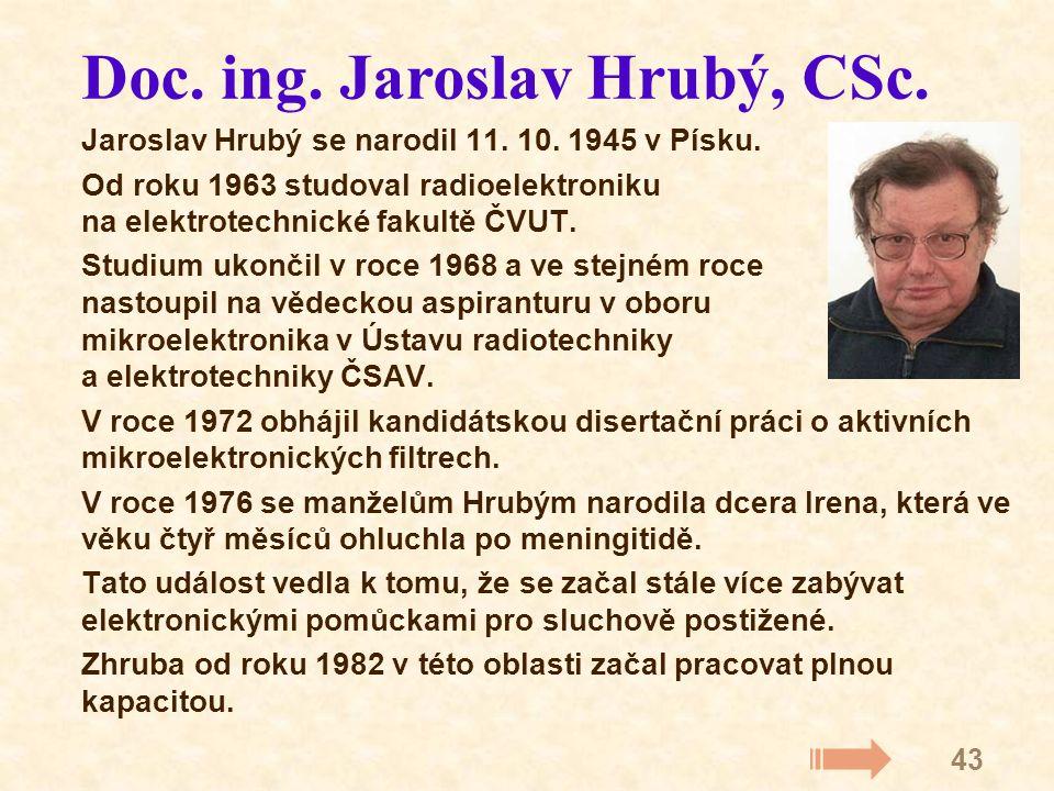 43 Jaroslav Hrubý se narodil 11. 10. 1945 v Písku.