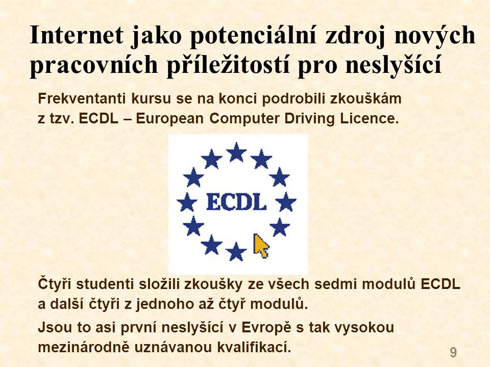 9 Internet jako potenciální zdroj nových pracovních příležitostí pro neslyšící Frekventanti kursu se na konci podrobili zkouškám z tzv.