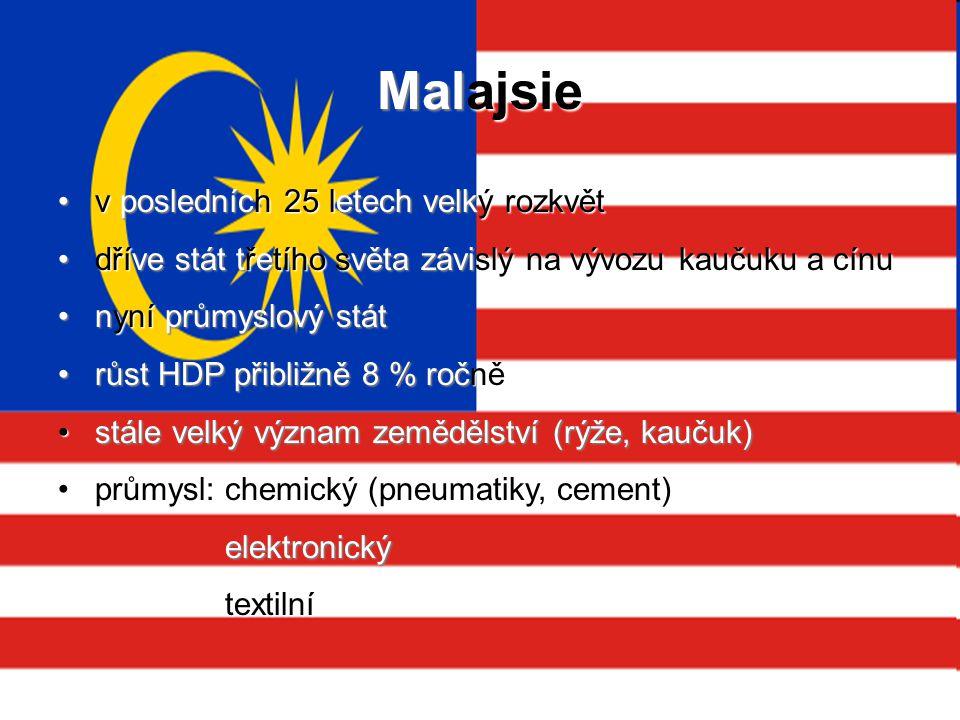 Malajsie v posledních 25 letech velký rozkvět v posledních 25 letech velký rozkvět dříve stát třetího světa závislý na vývozu kaučuku a cínu dříve stá