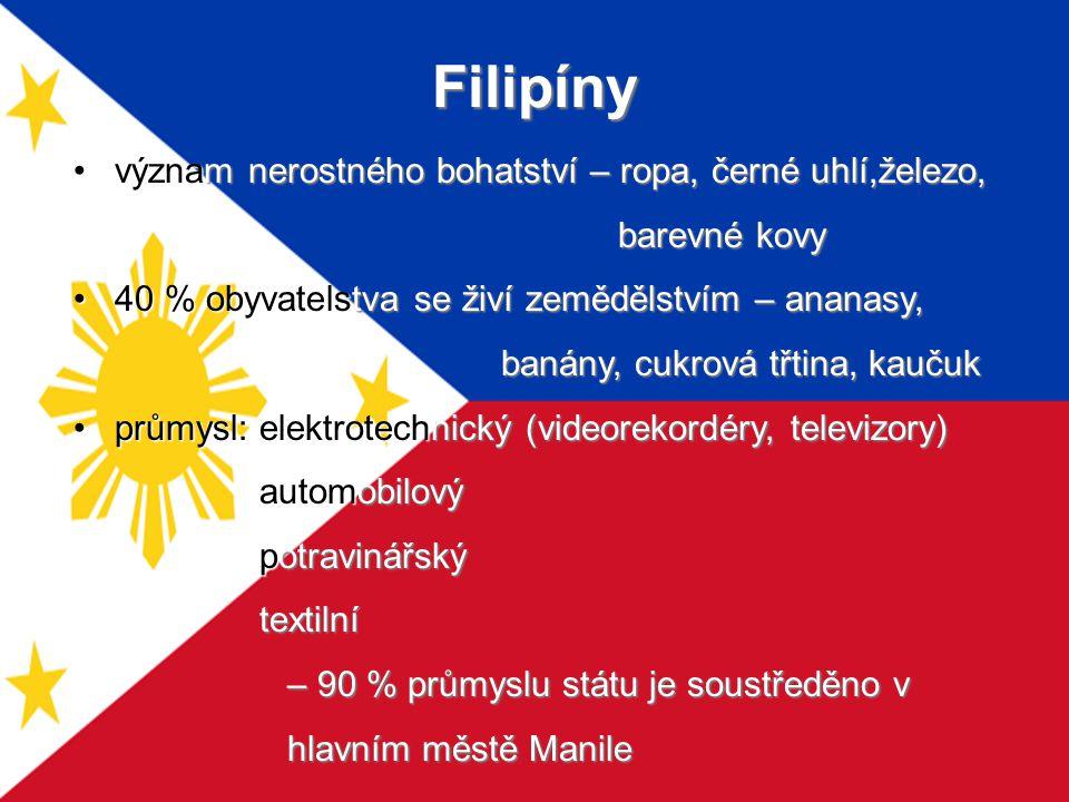 Filipíny význam nerostného bohatství – ropa, černé uhlí,železo, barevné kovy barevné kovy 40 % obyvatelstva se živí zemědělstvím – ananasy, 40 % obyva