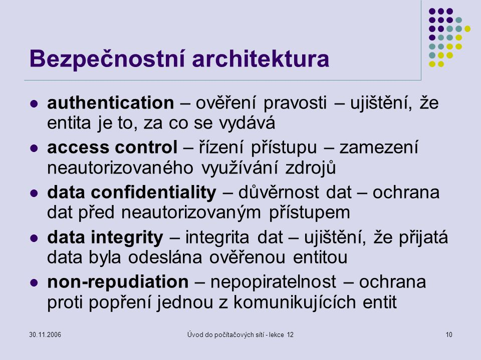 30.11.2006Úvod do počítačových sítí - lekce 1210 Bezpečnostní architektura authentication – ověření pravosti – ujištění, že entita je to, za co se vyd