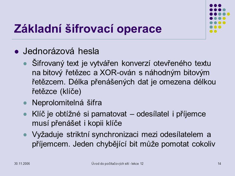30.11.2006Úvod do počítačových sítí - lekce 1214 Základní šifrovací operace Jednorázová hesla Šifrovaný text je vytvářen konverzí otevřeného textu na