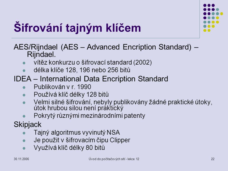 30.11.2006Úvod do počítačových sítí - lekce 1222 Šifrování tajným klíčem AES/Rijndael (AES – Advanced Encription Standard) – Rijndael. vítěz konkurzu
