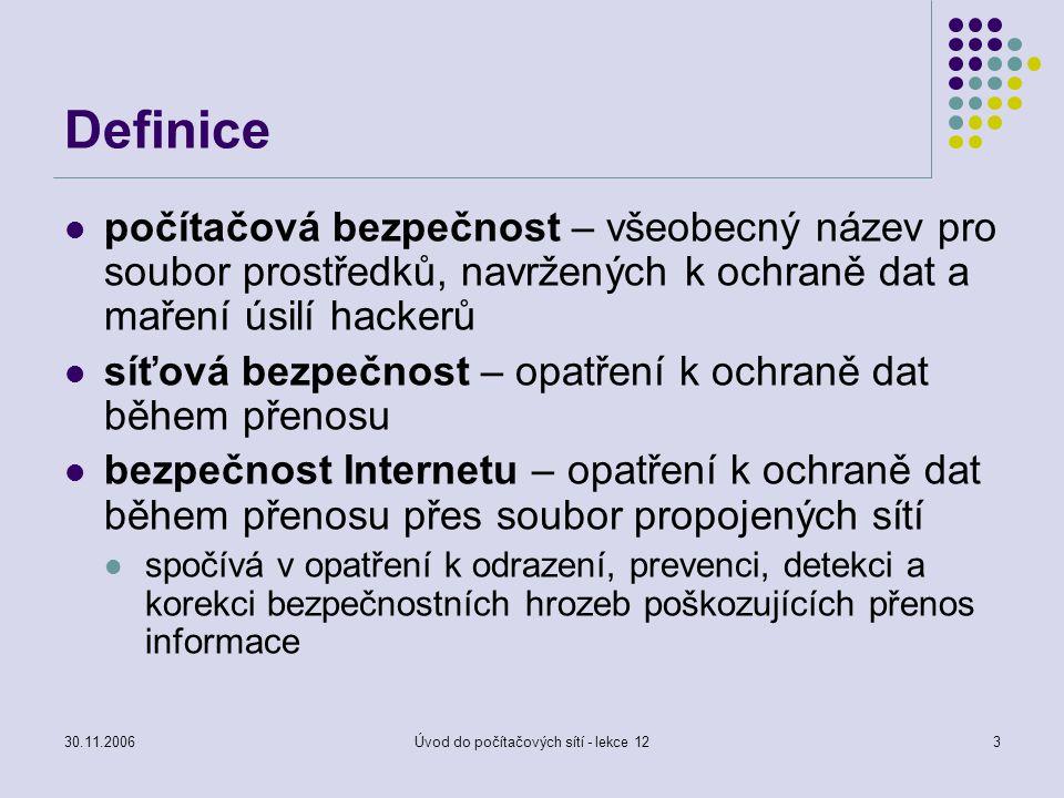 30.11.2006Úvod do počítačových sítí - lekce 123 Definice počítačová bezpečnost – všeobecný název pro soubor prostředků, navržených k ochraně dat a mař