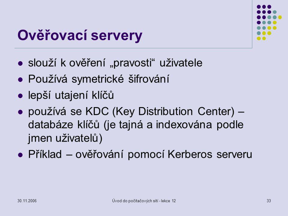 """30.11.2006Úvod do počítačových sítí - lekce 1233 Ověřovací servery slouží k ověření """"pravosti"""" uživatele Používá symetrické šifrování lepší utajení kl"""