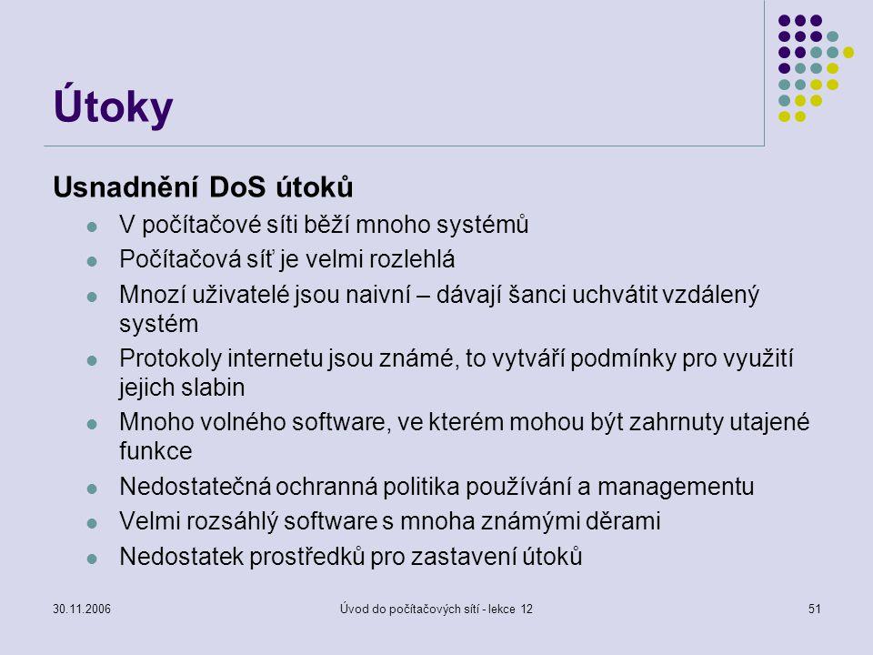 30.11.2006Úvod do počítačových sítí - lekce 1251 Útoky Usnadnění DoS útoků V počítačové síti běží mnoho systémů Počítačová síť je velmi rozlehlá Mnozí