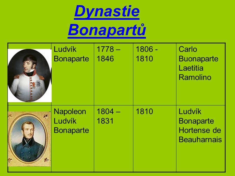 Ludvík Bonaparte 1778 – 1846 1806 - 1810 Carlo Buonaparte Laetitia Ramolino Napoleon Ludvík Bonaparte 1804 – 1831 1810Ludvík Bonaparte Hortense de Bea
