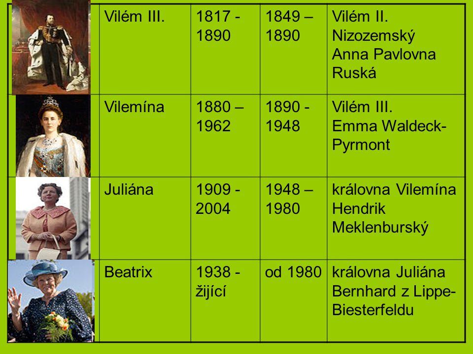 Vilém III.1817 - 1890 1849 – 1890 Vilém II. Nizozemský Anna Pavlovna Ruská Vilemína1880 – 1962 1890 - 1948 Vilém III. Emma Waldeck- Pyrmont Juliána190