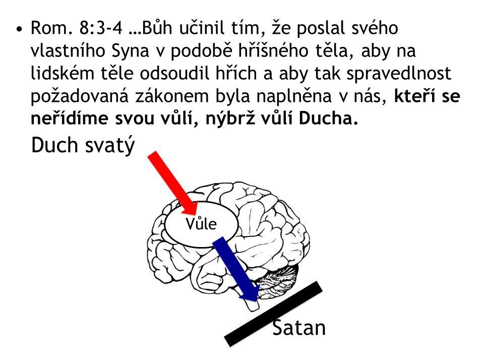 Rom. 8:3-4 …Bůh učinil tím, že poslal svého vlastního Syna v podobě hříšného těla, aby na lidském těle odsoudil hřích a aby tak spravedlnost požadovan