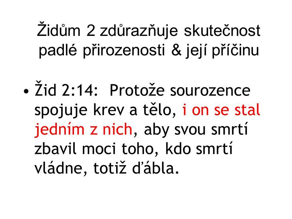 Židům 2 zdůrazňuje skutečnost padlé přirozenosti & její příčinu Žid 2:14:Protože sourozence spojuje krev a tělo, i on se stal jedním z nich, aby svou
