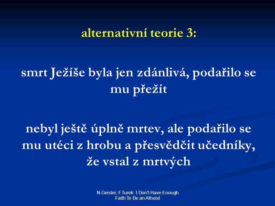 N.Geisler, F.Turek: I Don t Have Enough Faith To Be an Atheist alternativní teorie 3: smrt Ježíše byla jen zdánlivá, podařilo se mu přežít nebyl ještě úplně mrtev, ale podařilo se mu utéci z hrobu a přesvědčit učedníky, že vstal z mrtvých