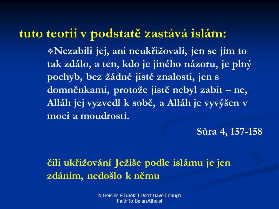 N.Geisler, F.Turek: I Don t Have Enough Faith To Be an Atheist tuto teorii v podstatě zastává islám:   Nezabili jej, ani neukřižovali, jen se jim to tak zdálo, a ten, kdo je jiného názoru, je plný pochyb, bez žádné jisté znalosti, jen s domněnkami, protože jistě nebyl zabit – ne, Alláh jej vyzvedl k sobě, a Alláh je vyvýšen v moci a moudrosti.