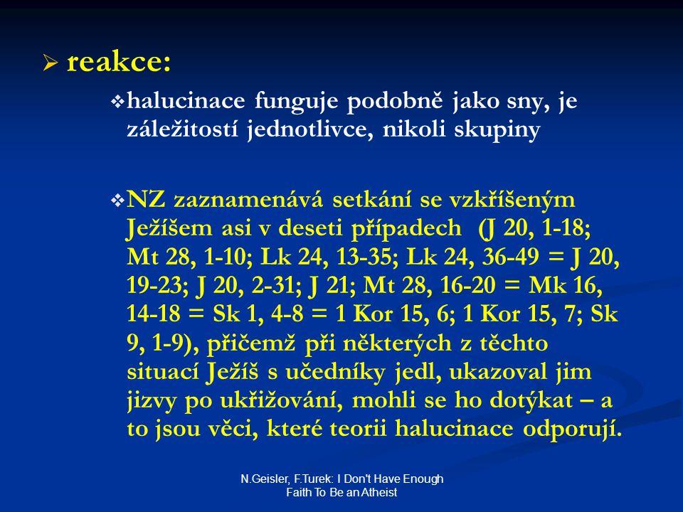 N.Geisler, F.Turek: I Don t Have Enough Faith To Be an Atheist   reakce:   halucinace funguje podobně jako sny, je záležitostí jednotlivce, nikoli skupiny   NZ zaznamenává setkání se vzkříšeným Ježíšem asi v deseti případech (J 20, 1-18; Mt 28, 1-10; Lk 24, 13-35; Lk 24, 36-49 = J 20, 19-23; J 20, 2-31; J 21; Mt 28, 16-20 = Mk 16, 14-18 = Sk 1, 4-8 = 1 Kor 15, 6; 1 Kor 15, 7; Sk 9, 1-9), přičemž při některých z těchto situací Ježíš s učedníky jedl, ukazoval jim jizvy po ukřižování, mohli se ho dotýkat – a to jsou věci, které teorii halucinace odporují.