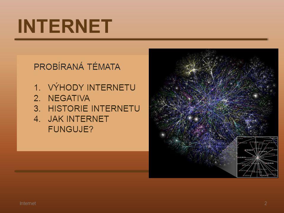 PROBÍRANÁ TÉMATA 1.VÝHODY INTERNETU 2.NEGATIVA 3.HISTORIE INTERNETU 4.JAK INTERNET FUNGUJE? INTERNET 2Internet