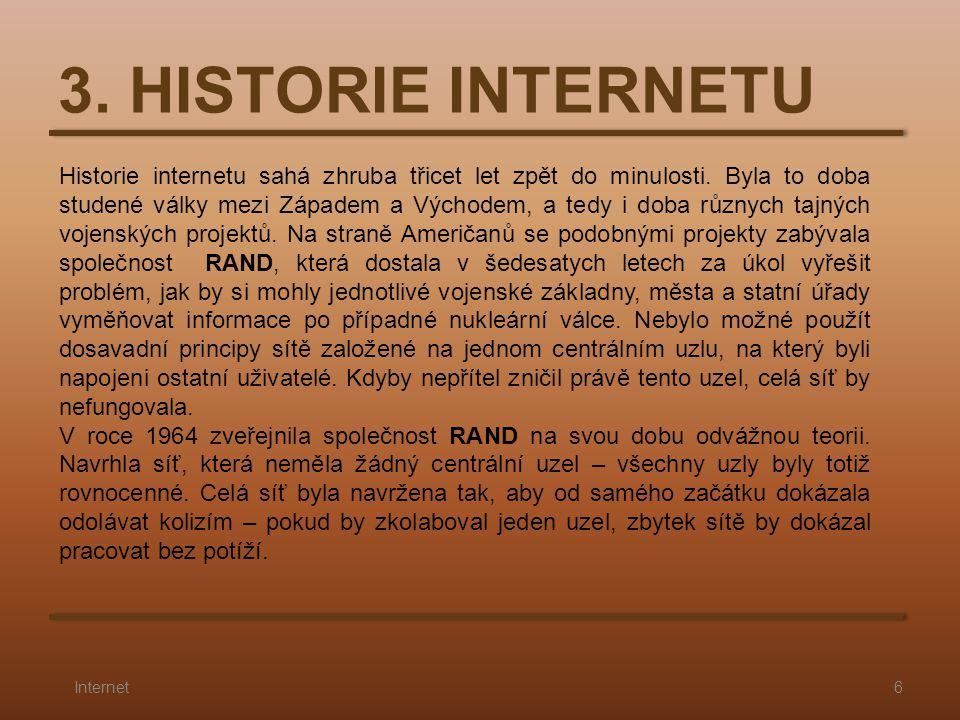 3. HISTORIE INTERNETU 6Internet Historie internetu sahá zhruba třicet let zpět do minulosti. Byla to doba studené války mezi Západem a Východem, a ted