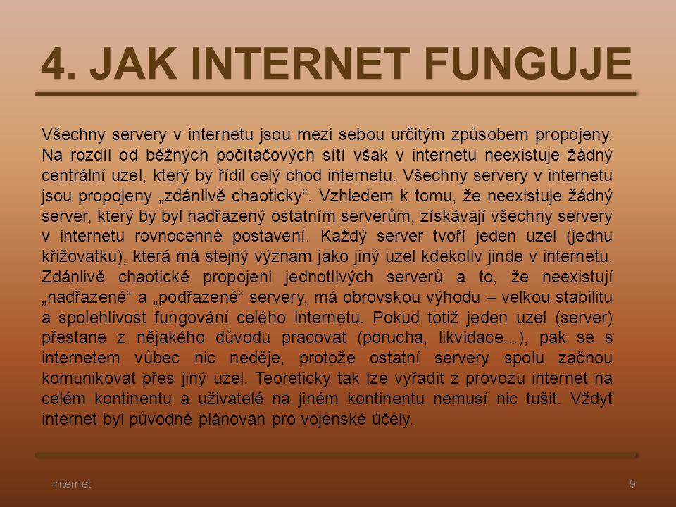 4. JAK INTERNET FUNGUJE 9Internet Všechny servery v internetu jsou mezi sebou určitým způsobem propojeny. Na rozdíl od běžných počítačových sítí však