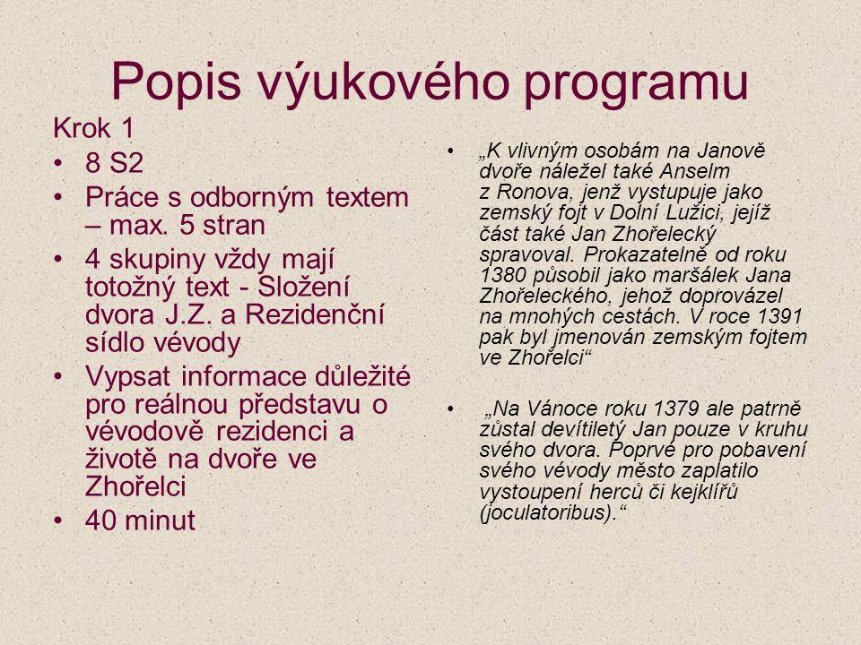 Popis výukového programu Krok 1 8 S2 Práce s odborným textem – max. 5 stran 4 skupiny vždy mají totožný text - Složení dvora J.Z. a Rezidenční sídlo v