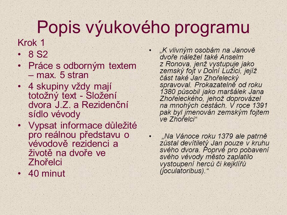 Popis výukového programu Krok 1 8 S2 Práce s odborným textem – max.