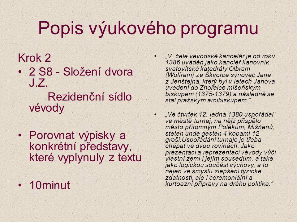 Popis výukového programu Krok 2 2 S8 - Složení dvora J.Z. Rezidenční sídlo vévody Porovnat výpisky a konkrétní představy, které vyplynuly z textu 10mi