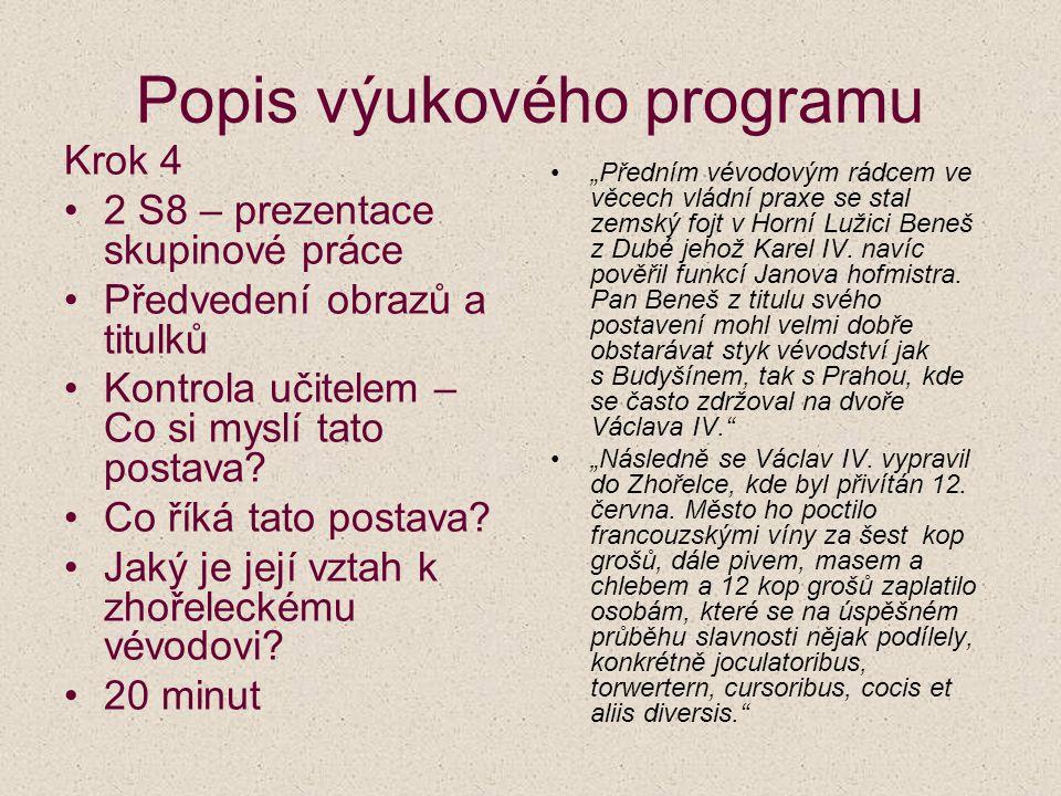 Popis výukového programu Krok 4 2 S8 – prezentace skupinové práce Předvedení obrazů a titulků Kontrola učitelem – Co si myslí tato postava? Co říká ta