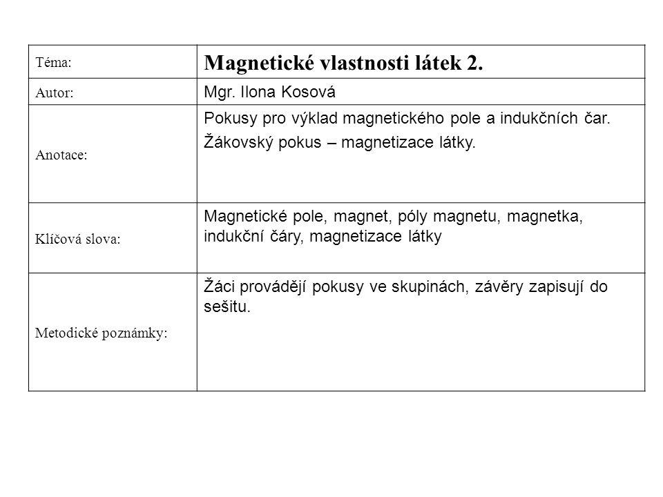 Téma: Magnetické vlastnosti látek 2. Autor: Mgr. Ilona Kosová Anotace: Pokusy pro výklad magnetického pole a indukčních čar. Žákovský pokus – magnetiz
