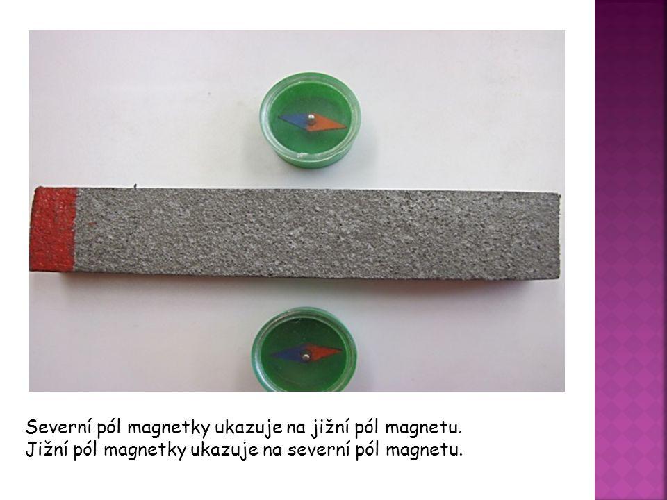 Severní pól magnetky ukazuje na jižní pól magnetu. Jižní pól magnetky ukazuje na severní pól magnetu.