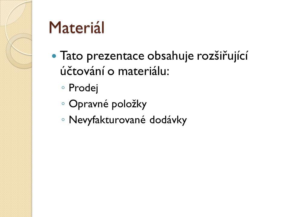 Prodej materiálu Materiál se pořizuje především za účelem spotřeby ve výrobě.