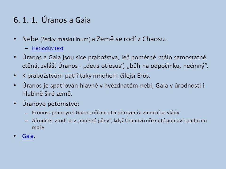 6.1. 1. Úranos a Gaia Nebe (řecky maskulinum) a Země se rodí z Chaosu.
