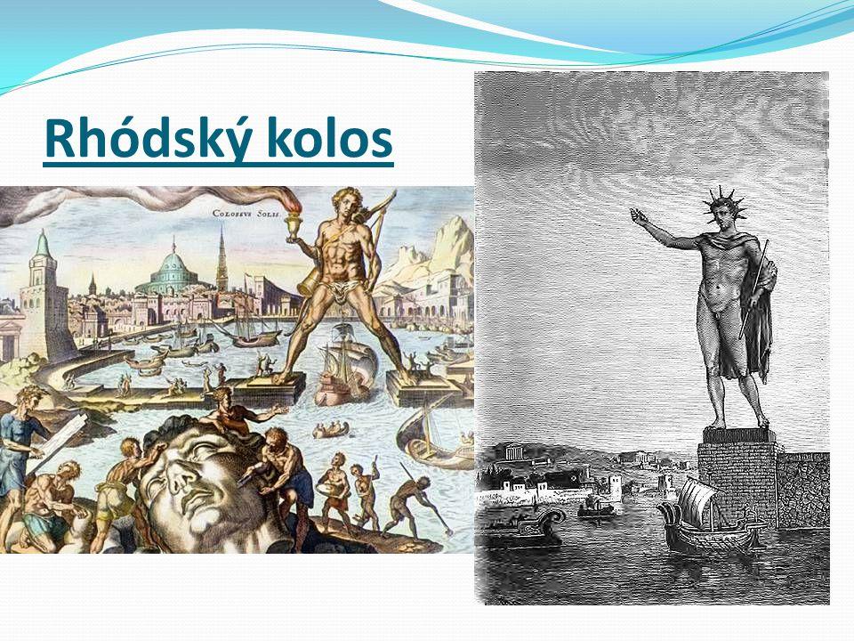 bronzová socha starověkého řeckého boha Hélia postavená u přístavu na ostrově Rhodos v letech 304 - 292 př.