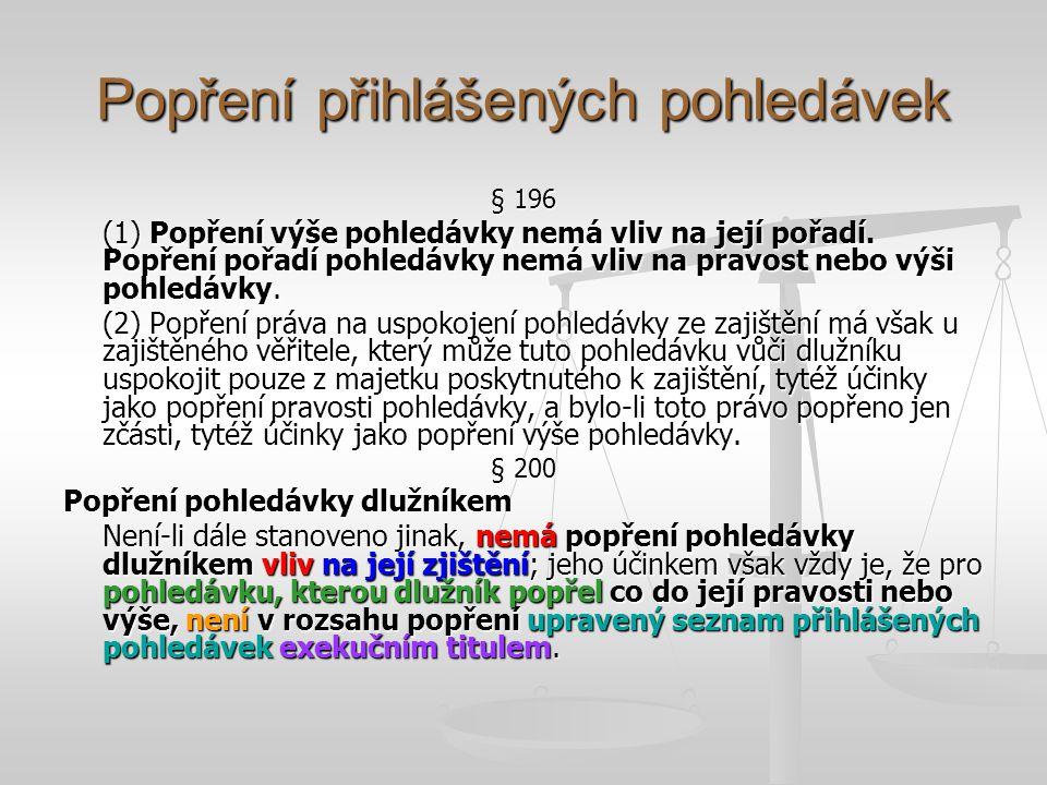 Popření přihlášených pohledávek § 196 (1) Popření výše pohledávky nemá vliv na její pořadí. Popření pořadí pohledávky nemá vliv na pravost nebo výši p