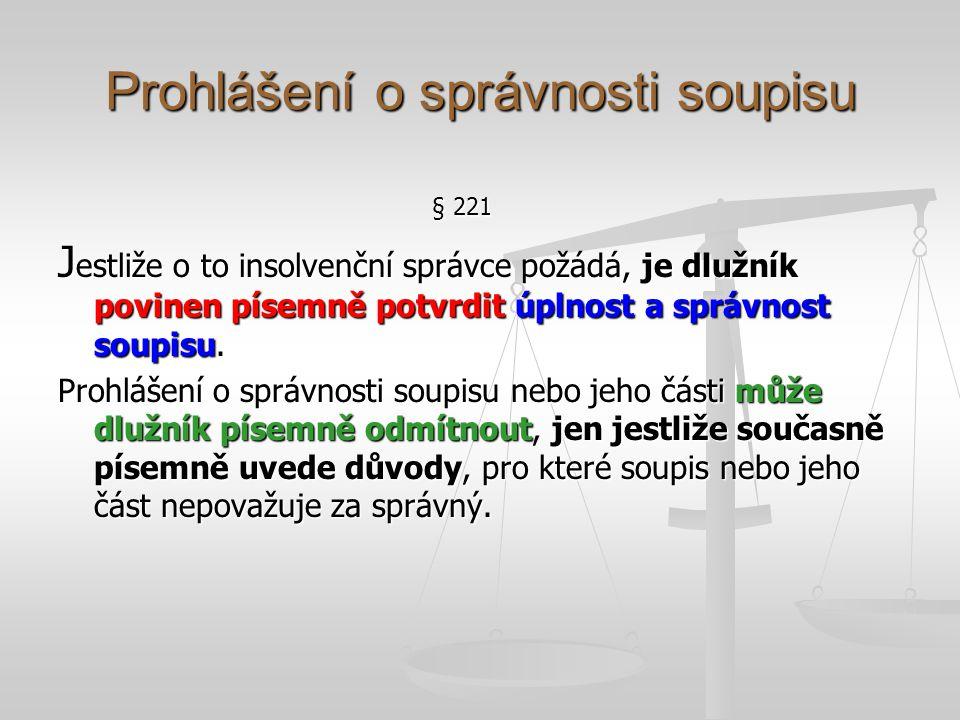 Prohlášení o správnosti soupisu § 221 J estliže o to insolvenční správce požádá, je dlužník povinen písemně potvrdit úplnost a správnost soupisu. Proh