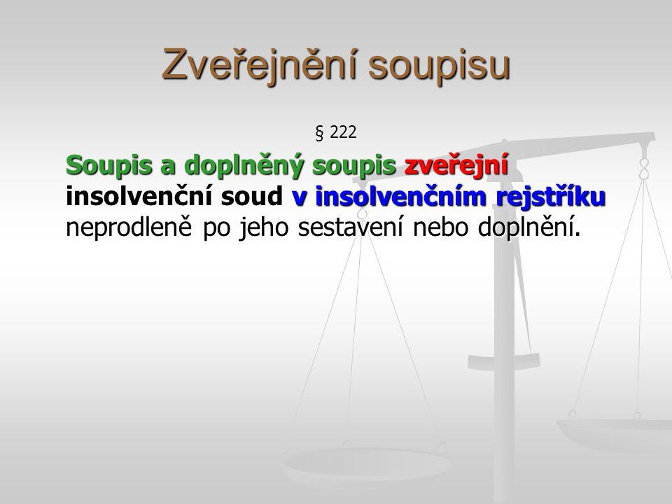 Zveřejnění soupisu § 222 Soupis a doplněný soupis zveřejní insolvenční soud v insolvenčním rejstříku neprodleně po jeho sestavení nebo doplnění.
