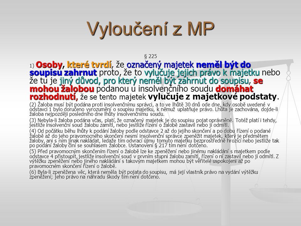 Vyloučení z MP § 225 1) Osoby, které tvrdí, že označený majetek neměl být do soupisu zahrnut proto, že to vylučuje jejich právo k majetku nebo že tu j