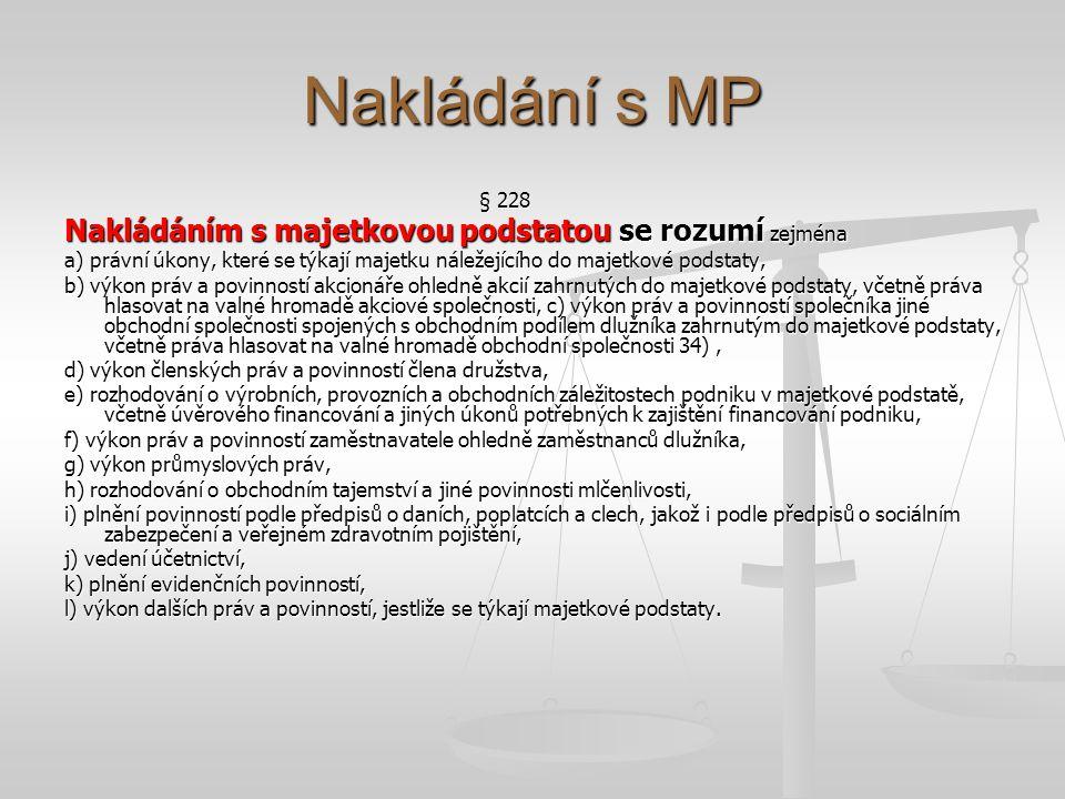 Nakládání s MP § 228 Nakládáním s majetkovou podstatou se rozumí zejména a) právní úkony, které se týkají majetku náležejícího do majetkové podstaty,