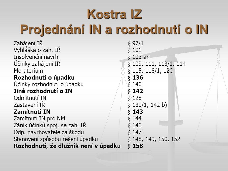 Kostra IZ Projednání IN a rozhodnutí o IN Zahájení Iا 97/1 Vyhláška o zah. Iا 101 Insolvenční návrh§ 103 an Účinky zahájení Iا 109, 111, 113/1, 114