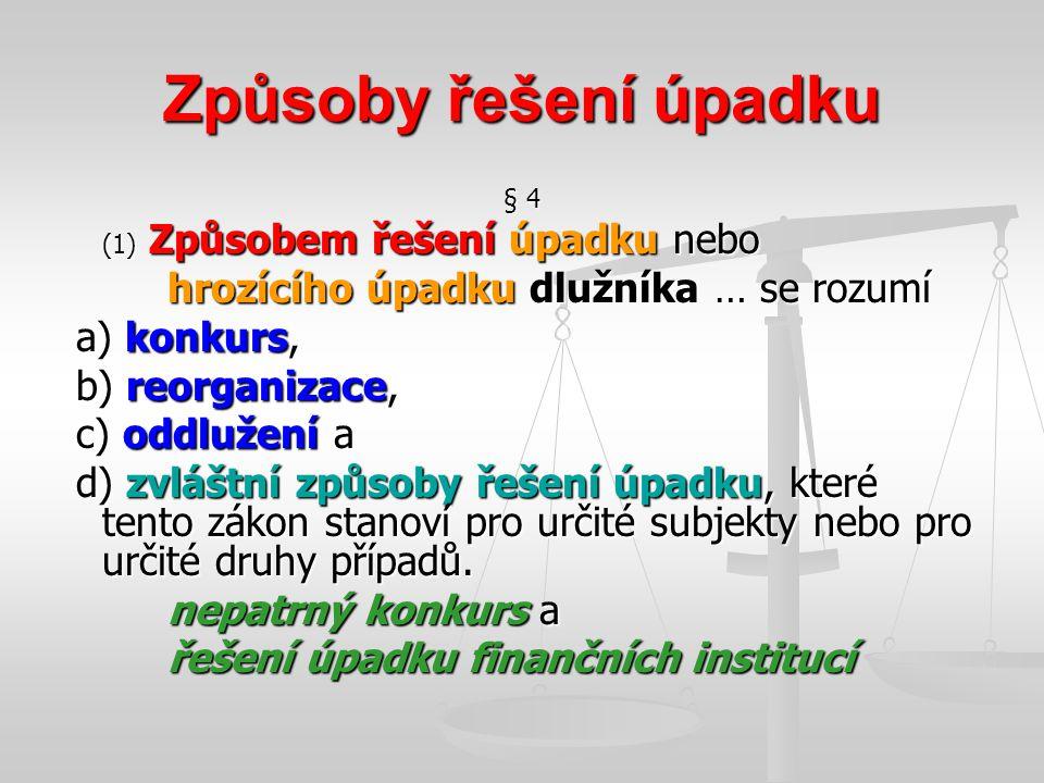 Způsoby řešení úpadku § 4 (1) Způsobem řešení úpadku nebo hrozícího úpadku dlužníka … se rozumí a) konkurs, a) konkurs, b) reorganizace, b) reorganiza