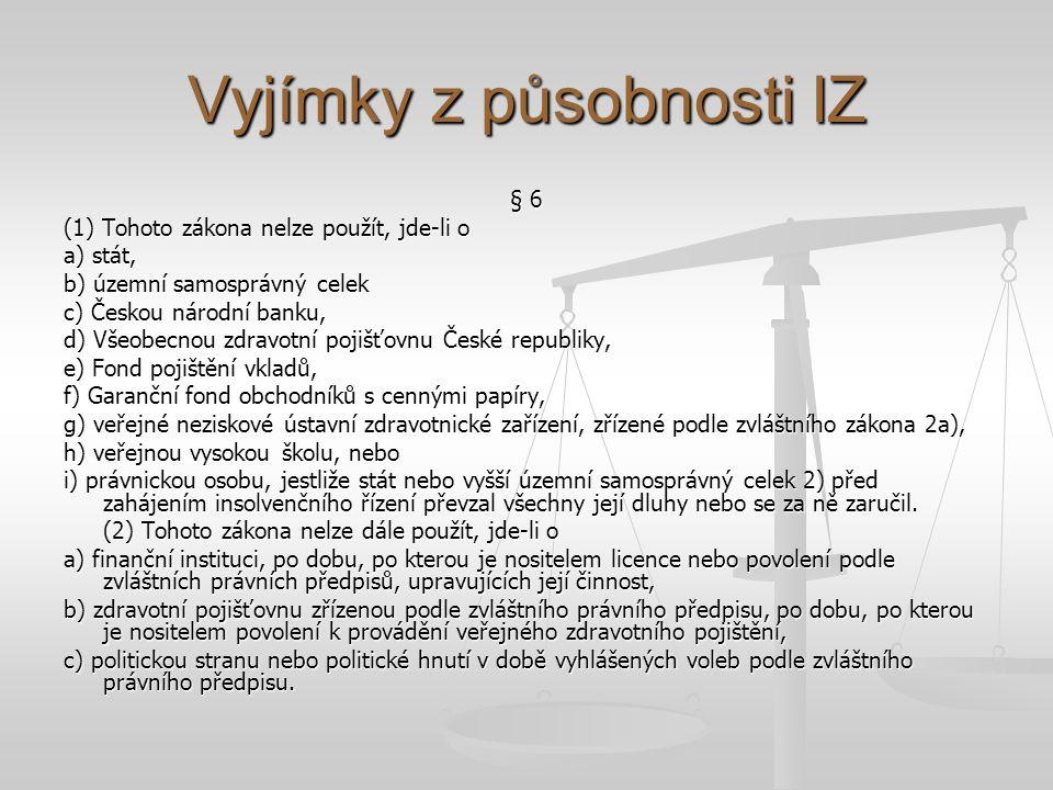 Vyjímky z působnosti IZ § 6 (1) Tohoto zákona nelze použít, jde-li o a) stát, b) územní samosprávný celek c) Českou národní banku, d) Všeobecnou zdrav