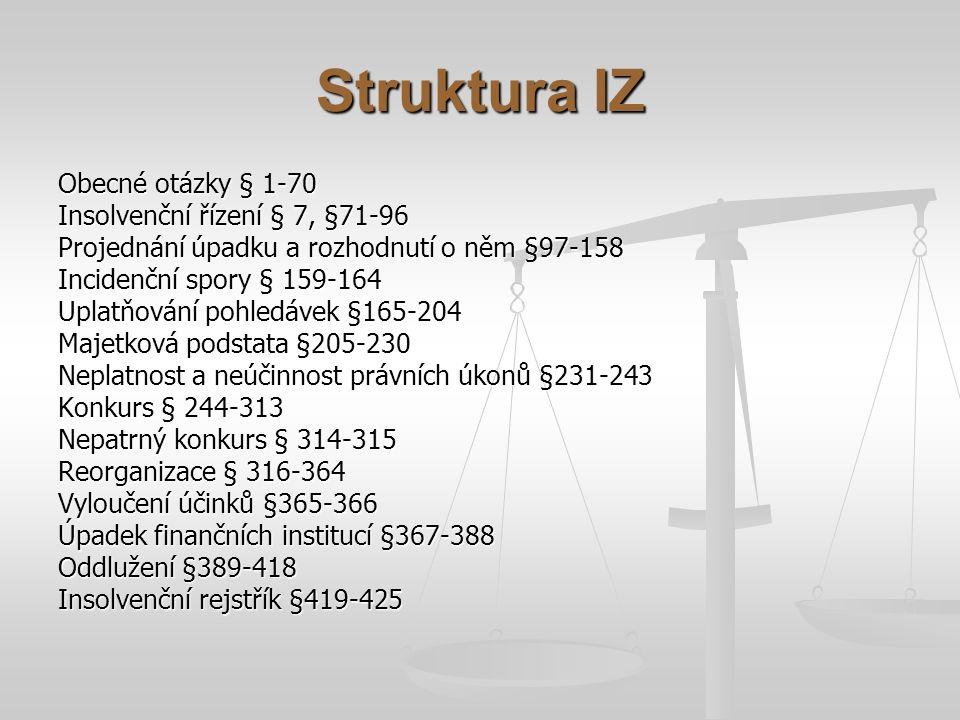 Struktura IZ Obecné otázky § 1-70 Insolvenční řízení § 7, §71-96 Projednání úpadku a rozhodnutí o něm §97-158 Incidenční spory § 159-164 Uplatňování p