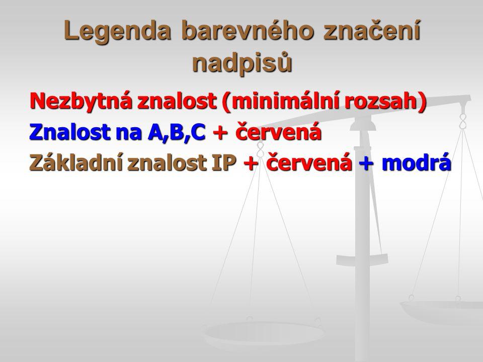 Legenda barevného značení nadpisů Nezbytná znalost (minimální rozsah) Znalost na A,B,C + červená Základní znalost IP + červená + modrá